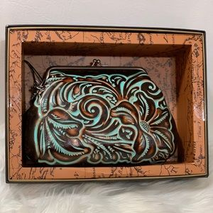 Patricia Nash Savena Tooled Turquoise Kiss Lock